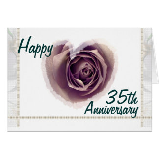 35th Wedding Anniversary - Purple Rose Heart Card