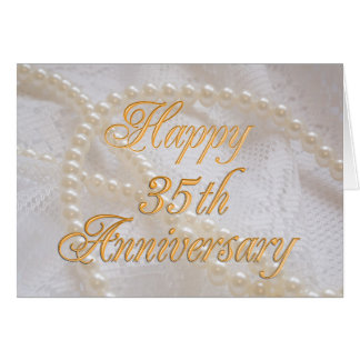 35th wedding anniversary with lace and pearls greeting card