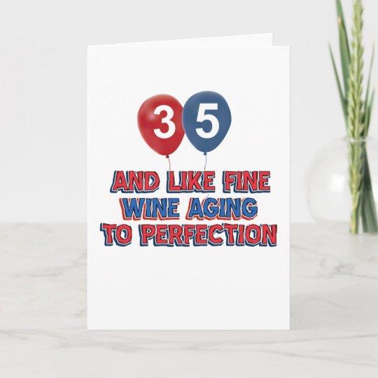 35th Year Old Birthday Designs Card