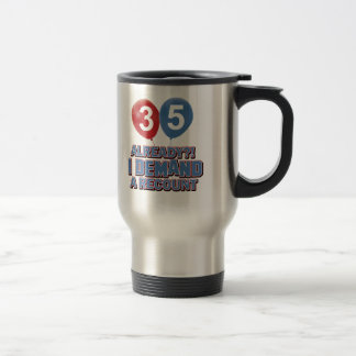 35th year old birthday designs travel mug