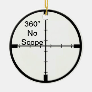 360 No Scope Video Game Joke Crosshairs FPS Christmas Ornament