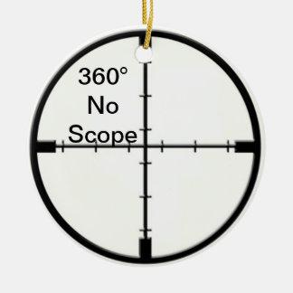 360 No Scope Video Game Joke Crosshairs FPS Round Ceramic Decoration