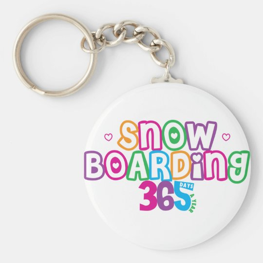 365 Snow Boarding Basic Round Button Key Ring