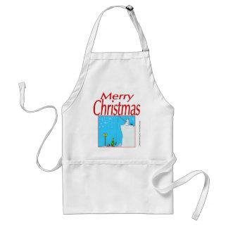 366 Merry Christmas polar bear fishing for elf Standard Apron
