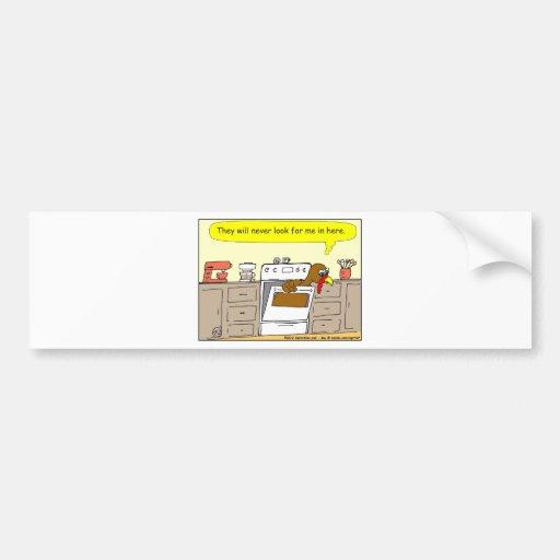 367 turkey in oven Cartoon Bumper Sticker
