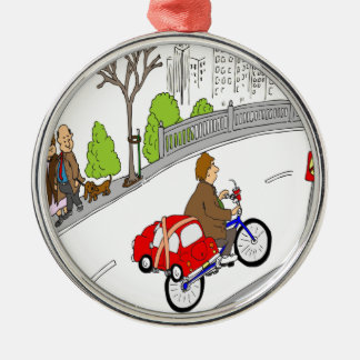 368 smart car bike rack cartoon christmas ornament