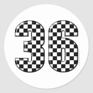 36 auto racing number classic round sticker