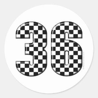 36 auto racing number round sticker