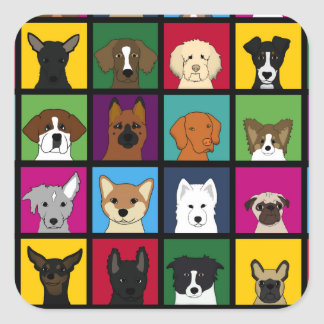 36 dogheads square sticker