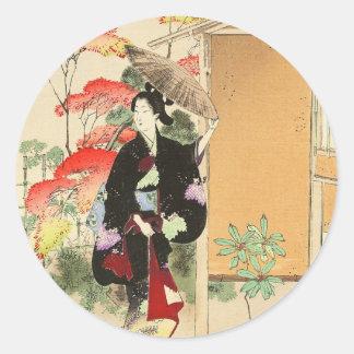 36 Examples of Beauties, Tea ceremony Toshikata Round Sticker