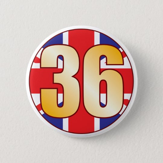 36 UK Gold 6 Cm Round Badge