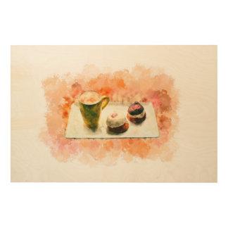 "36""x24"" Watercolor Hand drawn Coffee Wood Wall Art"