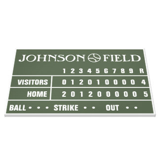 "36"" x 24"" Baseball Scoreboard Wrapped Canvas Stretched Canvas Print"