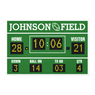 "36"" x 24"" Personalized Football Scoreboard Canvas Print"