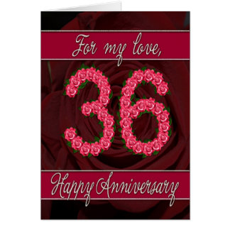 36th anniversary card with roses and leaves