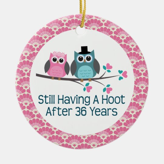 36th Anniversary Owl Wedding Anniversaries Gift Round Ceramic