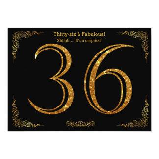 36th Birthday party,Gatsby styl,black gold glitter Card
