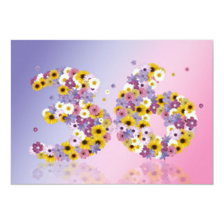 """36th Birthday party, with flowered letters 5"""" X 7"""" Invitation Card"""