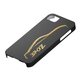370z Gold Silhouette Logo with faux carbon fiber Barely There iPhone 5 Case