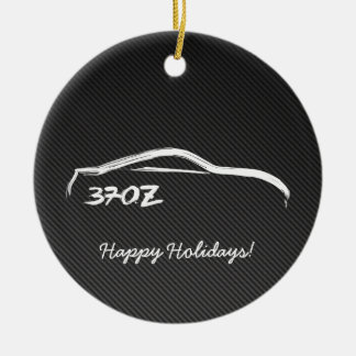 370Z White Silhouette with Faux Carbon FIber Round Ceramic Decoration