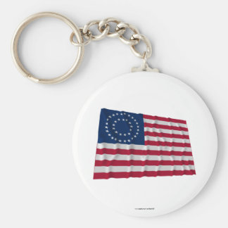 37-star flag, Double Medallion pattern Basic Round Button Key Ring