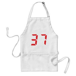 37 thirty-seven red alarm clock digital number apron