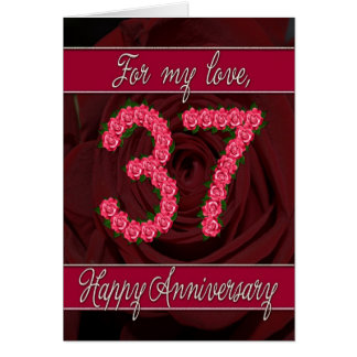 37th anniversary card with roses and leaves