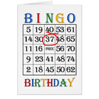 37th Birthday Bingo card