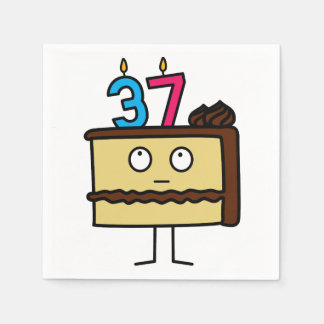 37th Birthday Cake with Candles Disposable Serviettes