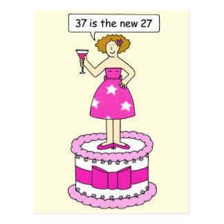 37th birthday celebration , lady on a giant cake. postcard