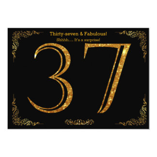 37th Birthday party,Gatsby styl,black gold glitter 13 Cm X 18 Cm Invitation Card