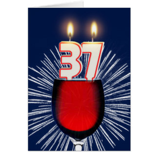 37th Birthday with wine and candles Card