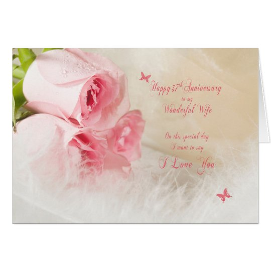 37th Wedding anniversary for wife with roses Card