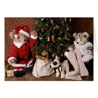 3806 Teddy Bear Santa Christmas Card