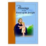 3820 Blessings St. Joseph Feast Blue Greeting Card
