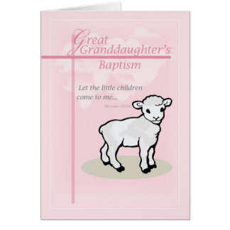 3873 Great GrandDaughter Baptism Pink Lamb Card