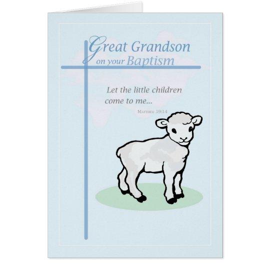 3875 Great Grandson Baptism Boy Lamb Card