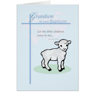 3877 Grandson Baptism Boy Lamb Card