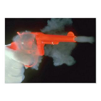 """.38-special revolver, firing 5"""" x 7"""" invitation card"""