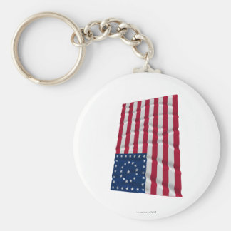 38-star flag, Boxed Medallion pattern Basic Round Button Key Ring