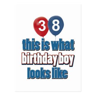 38 year old birthday designs postcard