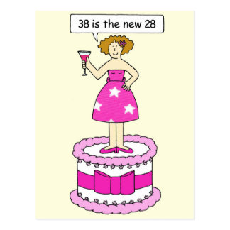 38th birthday age humor, lady on a giant cake. postcard