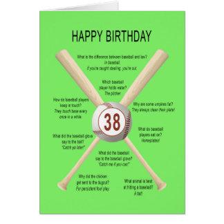 38th birthday baseball jokes card