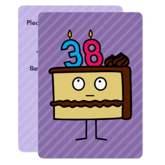 38th Birthday Cake with Candles 13 Cm X 18 Cm Invitation Card