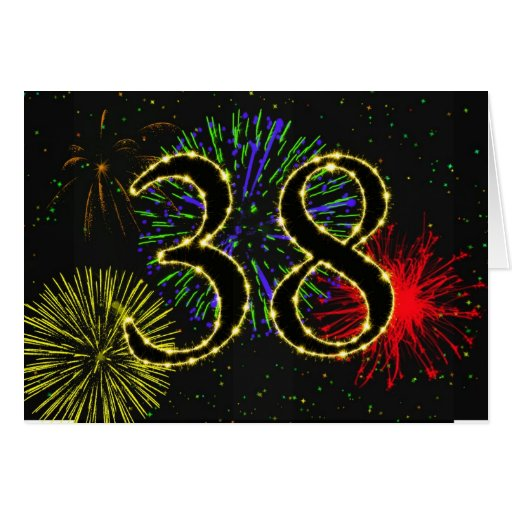 38th Birthday card with fireworks