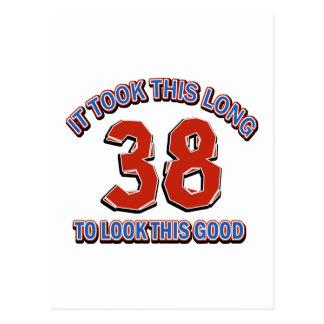 38th birthday design postcard