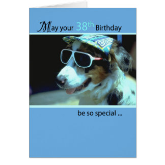 38th Birthday Dog in Funny Sunglasses Greeting Card