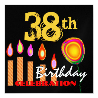38th Birthday Gold Candles and Balloon Metallic Custom Invitations