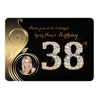 38th,Birthday Invitation,Number Diamond,Photo 2 Card