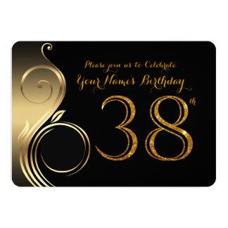 38th,Birthday Invitation,Number Glitter Gold,Photo 13 Cm X 18 Cm Invitation Card